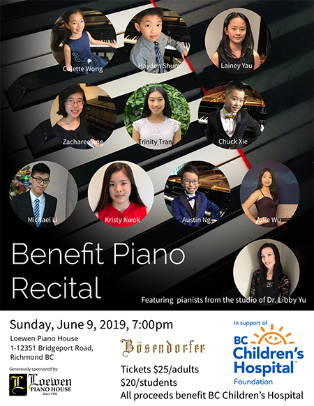 Benefit Piano Recital: Featuring pianists from Dr. Libby Yu Piano Studio